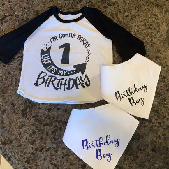 1st Birthday Baseball Top & Bandana Bibs 12-18